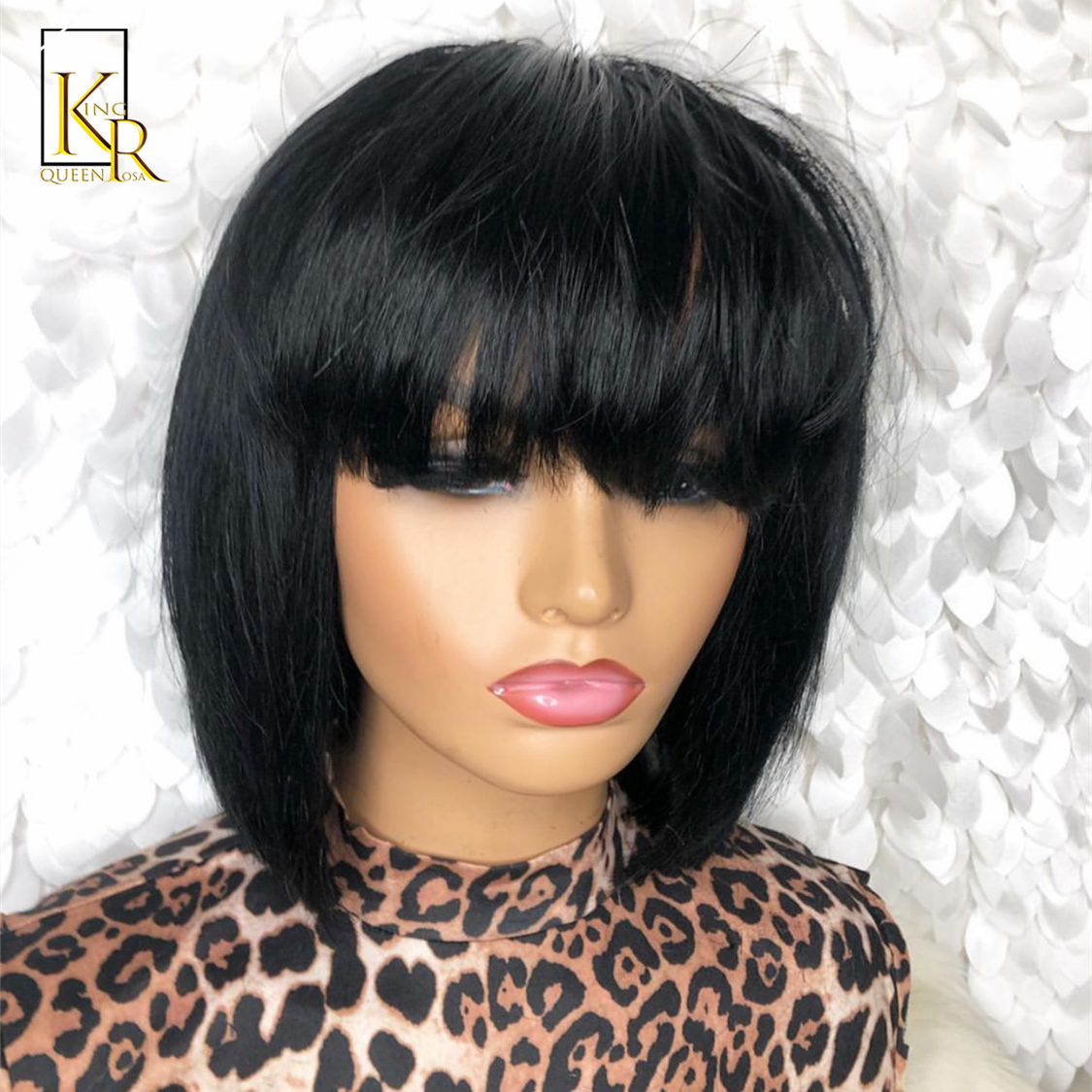 13*4 Short Bob Wig Brazilian Lace Front Human Hair Wigs With Bangs Pre-Plucked Natural Color Bleached Knots Remy Hair 150% Wig