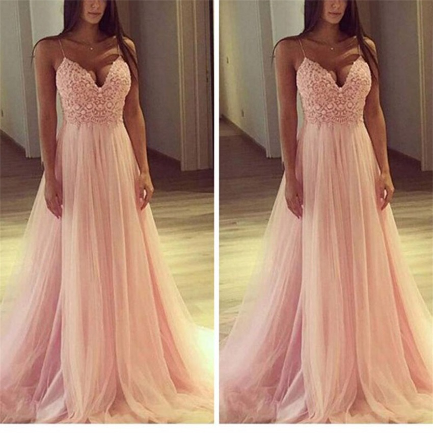 Evening Dress 2020 Sexy V-Neck Sleeveless Applique Evening Party Prom Formal Gowns Long Dresses Vestidos Robe De Soiree