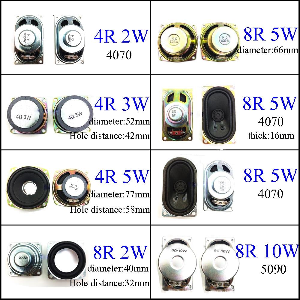 YuXi 8 Ohm 2W 3W 5W 10W 4R 8R 2/3/5/10W 40mm 52mm 66mm 77mm 4070 5090 Diameter Loudspeaker Loud Speaker