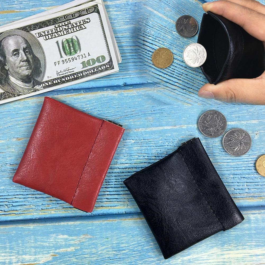 Carteira de couro do plutônio para os homens das mulheres bolsa de moeda sólida preto vermelho saco de dinheiro unisex qualidade titular do cartão de crédito viagem mini bolsa quente
