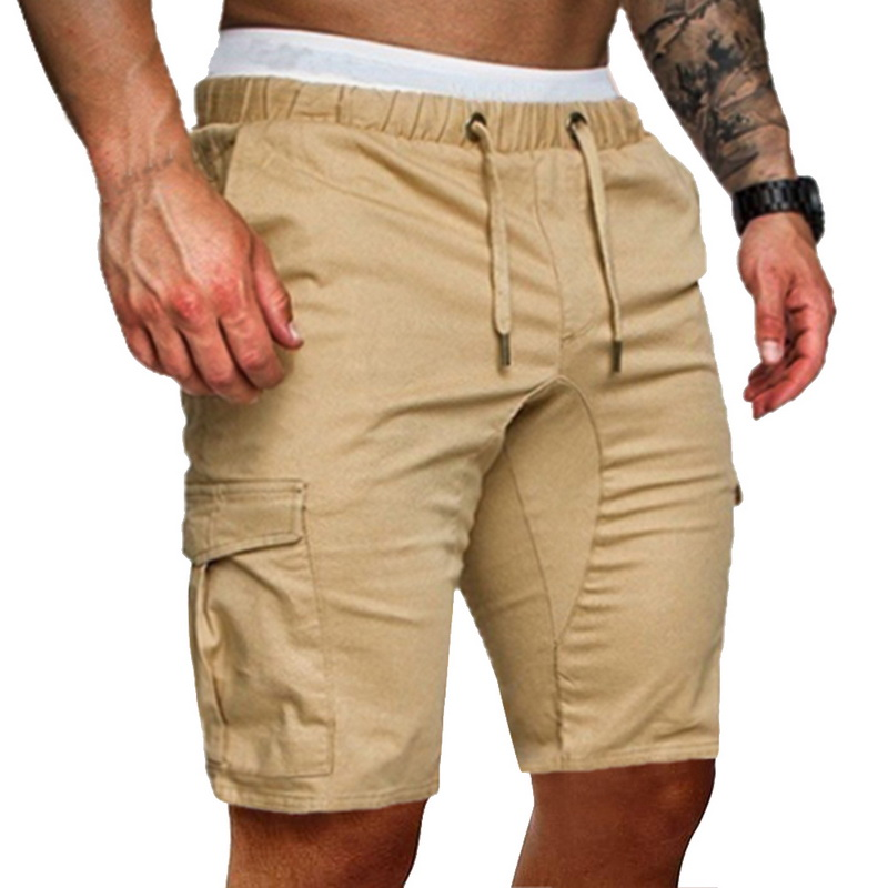 SHUJIN 2020 Cargo Shorts Men Cotton Loose Work Casual Cotton Pants Plus Size Men Casual Elastic Solid Pockets Workout Trousers