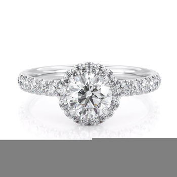 14k White Gold Center 1ct 6.5mm EF Color Moissanite Halo Engagement Ring for Women Wedding Anniversary Gift 4