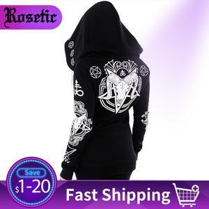 Rosetic Black Hoodie Coat Hipster Sweatshirt Women Punk Streetwear Gothic Plus-Size Print