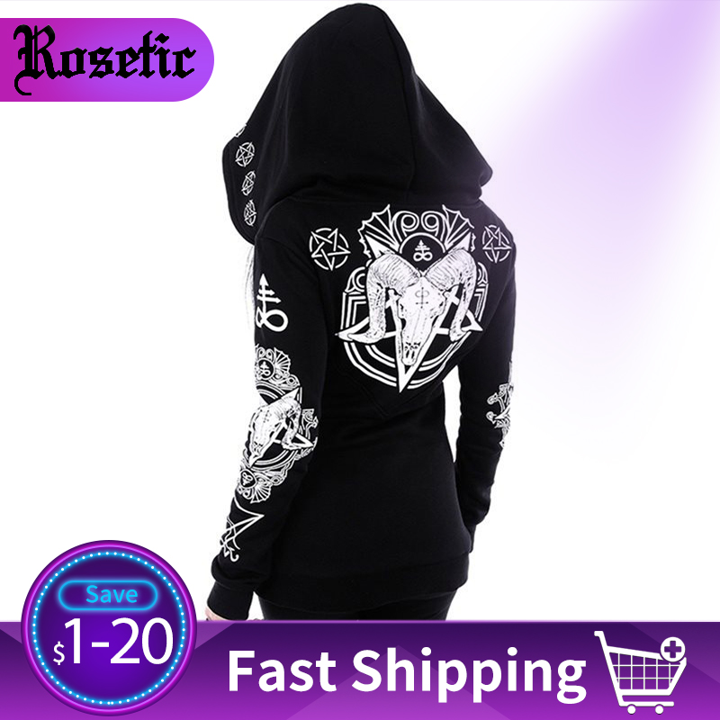 Rosetic Black Hoodie Sweatshirt Women Plus Size Coat Punk Gothic Print Hooded Hipster Streetwear Big Sizes 5XL Goth Dark Hoodies