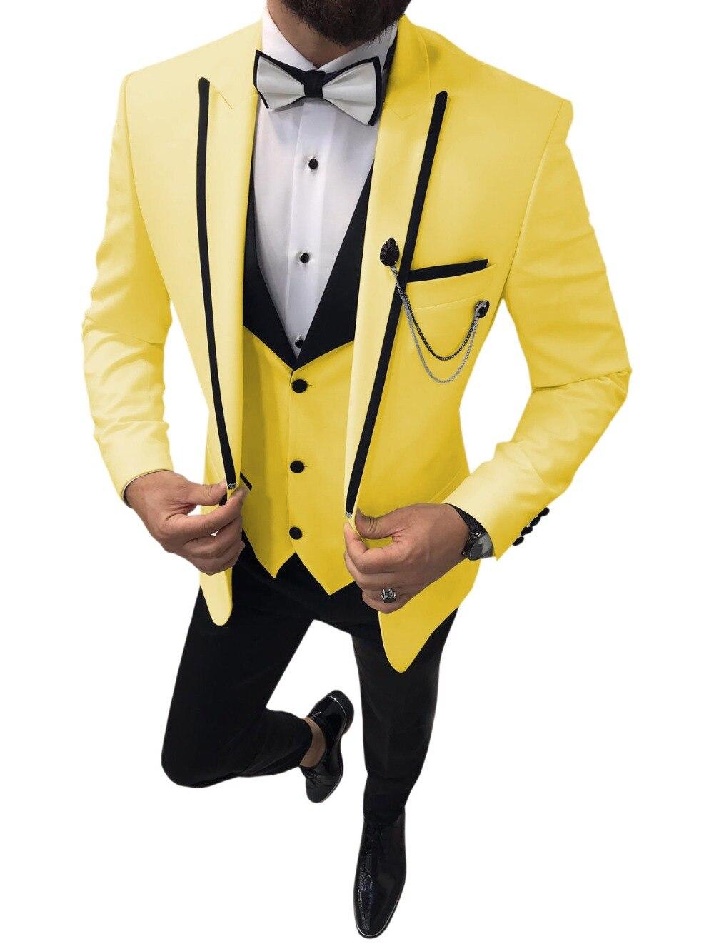 Handsome Classic Yellow Groomsmen Peak Lapel Groom Tuxedos 3 Pieces Men Suits Wedding Prom Best Man Blazer Jacket+Pants+Vest+Bow
