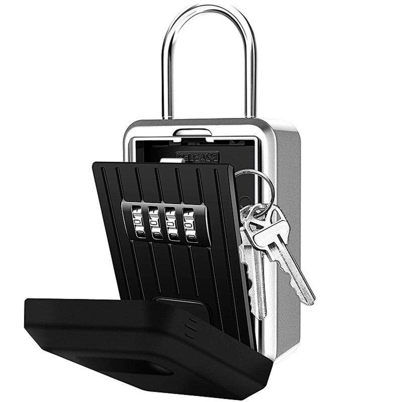 Password Key Box Wall-Mounted Metal Hook Type 4-Digit Password Lock Outdoor Key Storage Box Anti-Theft Waterproof Storage Box