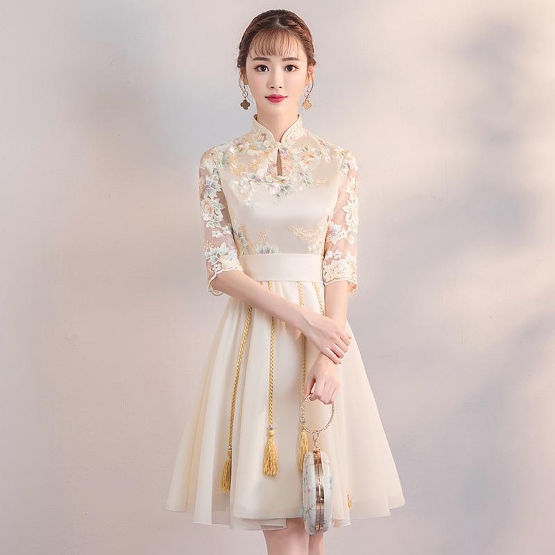 Vintage Button Dress Tassel Women Chongsam Champagne Qipao Classic Lady Flower Prom Gown Qipao Dress Size S-3XL 2020