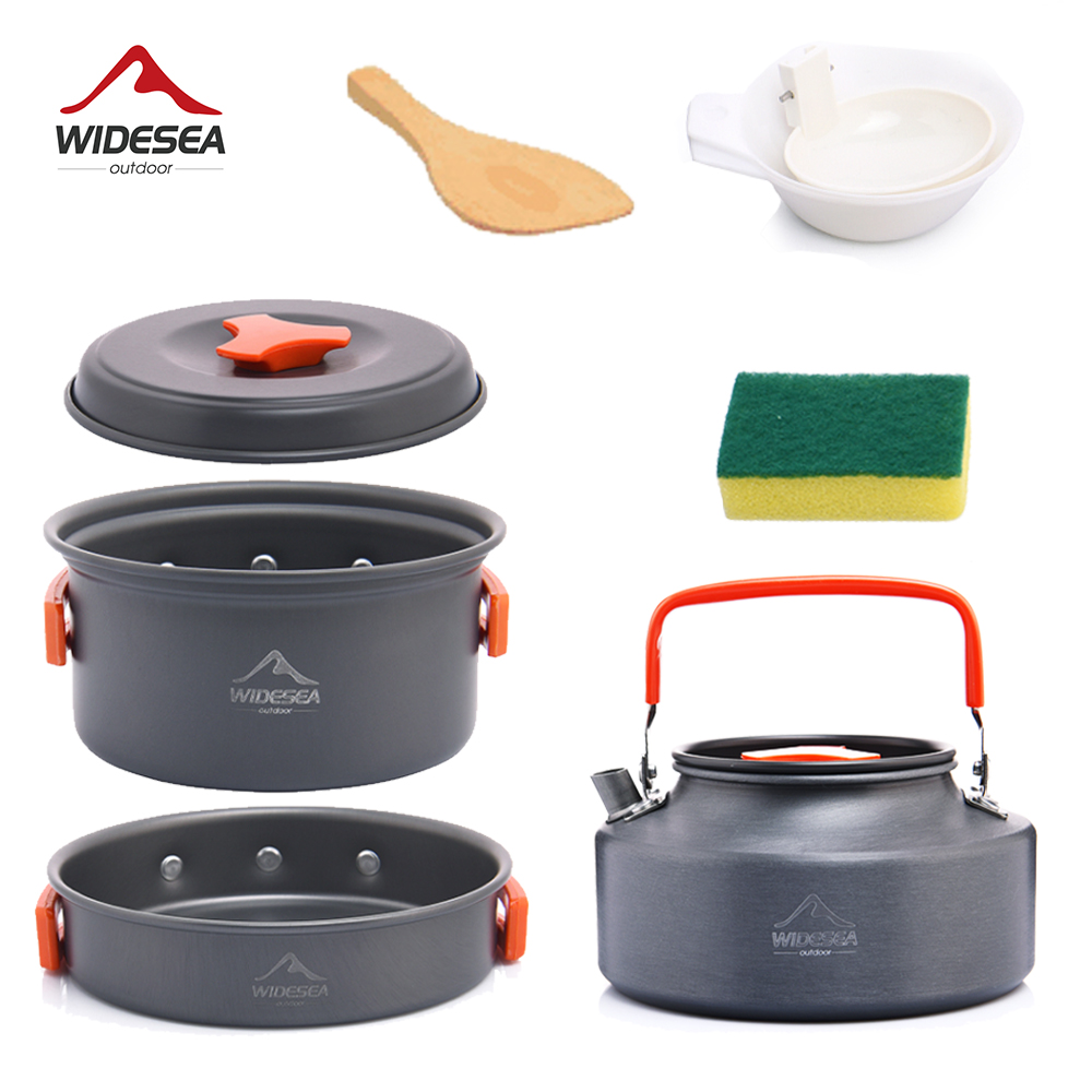 Widesea Camping Tableware Outdoor Cookware Set Pots Tourist Dishes Bowler Kitchen Equipment Gear Utensils Hiking Picnic Travel