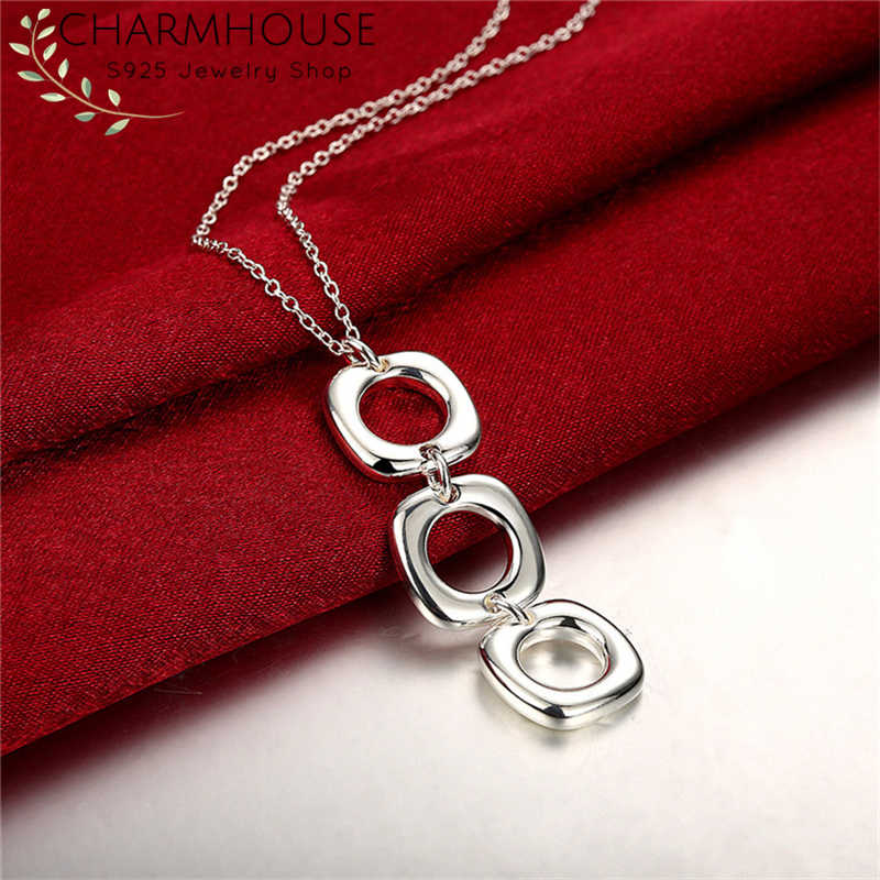 Charmhouse 925 Sterling Silver Necklaces For Women Square Pendant & Necklace Link Chain Choker Collier Fashion Jewerly Bijoux