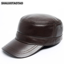 SHALUOTAOTAO Mens Flat Cap Trend Snapback Autumn Winter New Genuine Leather Hat Adjustable Size Fashion Cowhide Military Hats