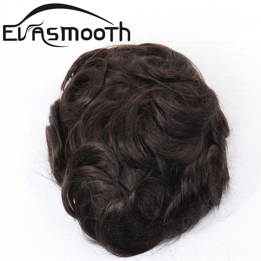 Blonde Curly Hair Wig Men Toupee Human Hair Thin Swiss Lace Wig Hairpiece Real Hair Natural Hairlines Hair Replacement System