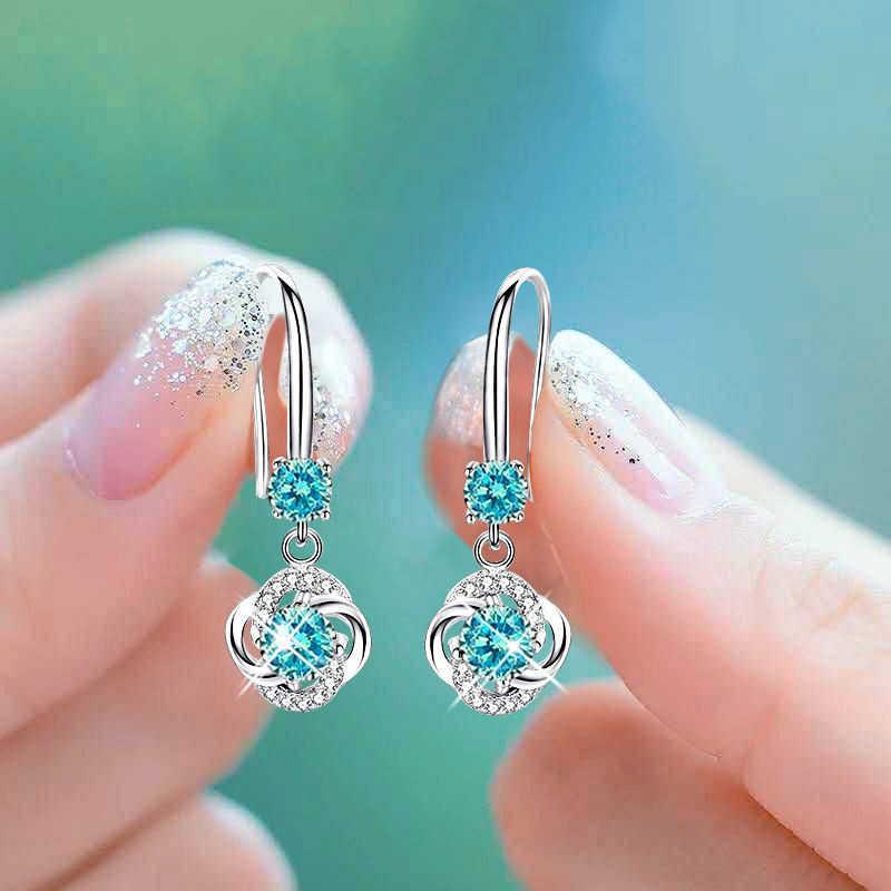 Boho נקבה קריסטל ורוד כחול לבן זרוק עגילי אופנה 925 כסף זירקון אבן עגילי קטן עגול להתנדנד עגילים לנשים