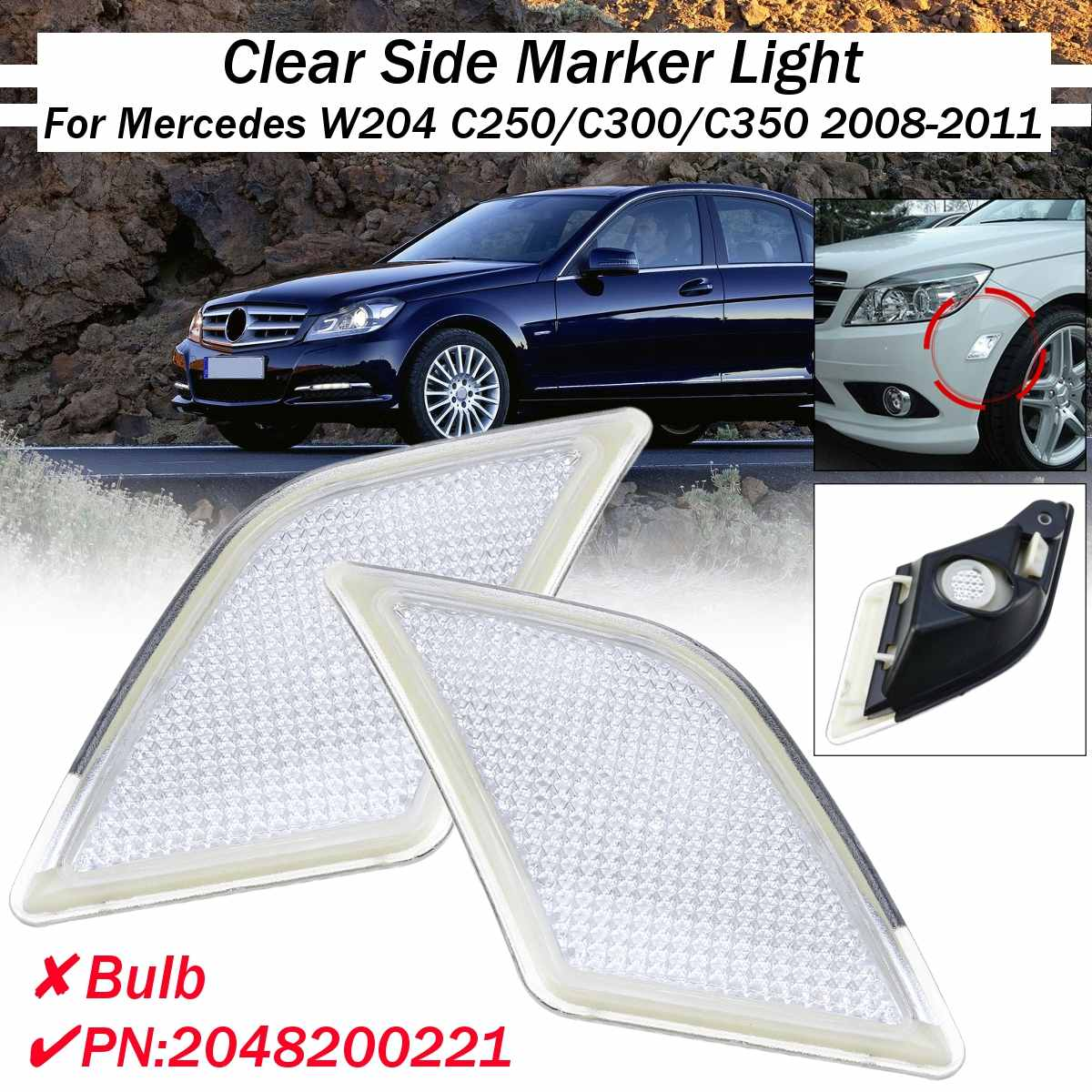 Left/Right Clear Side Marker Light For <font><b>Mercedes</b></font> W204 C250/<font><b>C300</b></font>/C350 2008 2009 <font><b>2010</b></font> 2011 #2048200221 without bulbs image