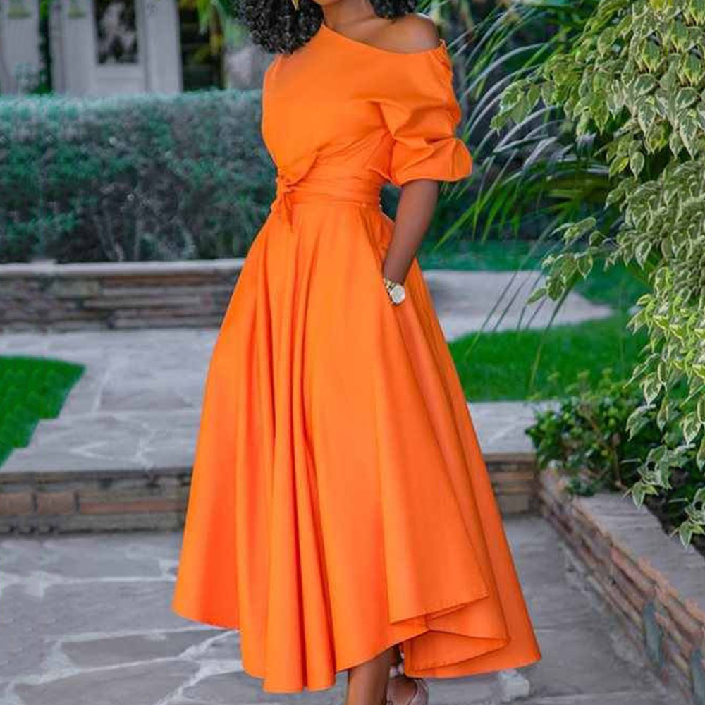 Orange Women A Line Dress Summer Casual High Waist Tunic 2020 Ladies Elegant Asymmetric Midi Dresses Dinner Party Femme Vestiods title=