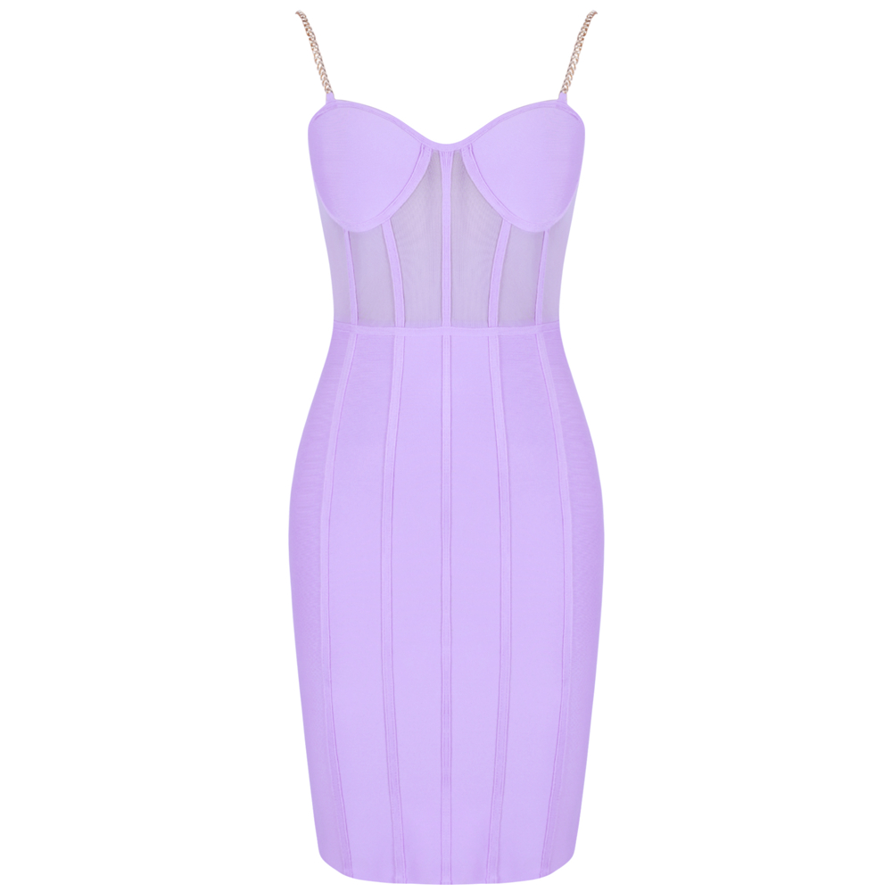 Image 4 - Ocstrade Vestido Bandage Midi Dress Autumn Winter 2020 New Women  Neon Purple Bandage Dress Sleeveless Bodycon Club Party DressDresses