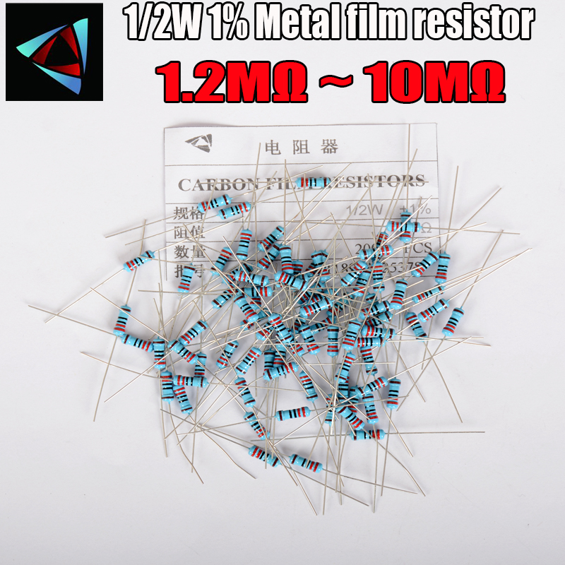 50pcs 1/2W Metal Film Resistor 1% 1.2M ~ 10M 1.5M 1.6M 1.8M 2M 2.2M 2.7M 3.3M 3.9M 4.3M 4.7M 10M