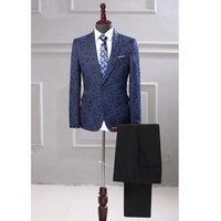 New Arrival Jacquard Men Suit Set Two Pieces Jacket Pants England Style Slim Wedding Suits Men'