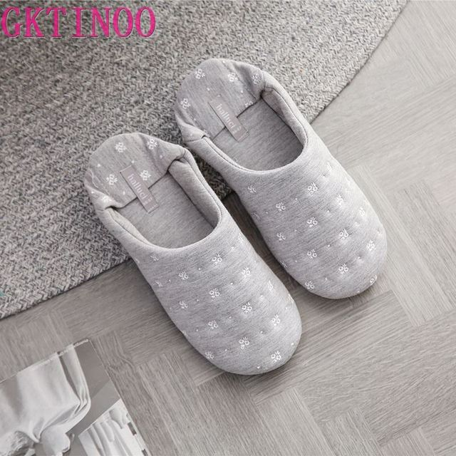 GKTINOO 2020 Women Home Slippers For Indoor Bedroom House Soft Bottom Cotton Warm Shoes Adult Guests Flats