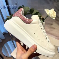 High Quality Women White Shoes Size 34 44 Spring Lovers Genuine Leather flats shoes Women White Casual Shoes White Shoes