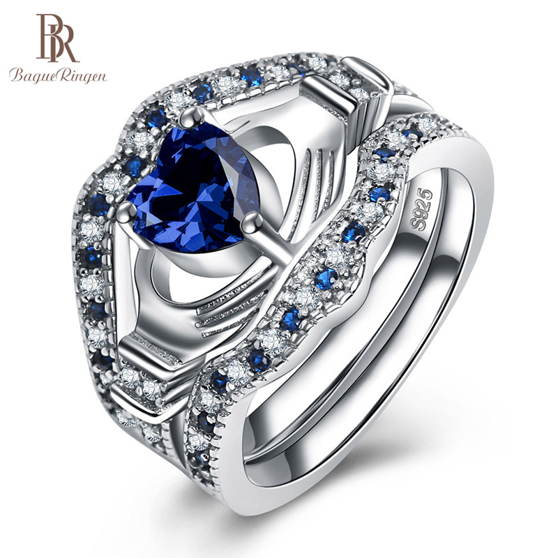 Bague Ringen Sapphire Silver 925 Rings For Women Fine Jewelry With Gemstone Three Piece Suit Blue Heart Female Party Ring Gift
