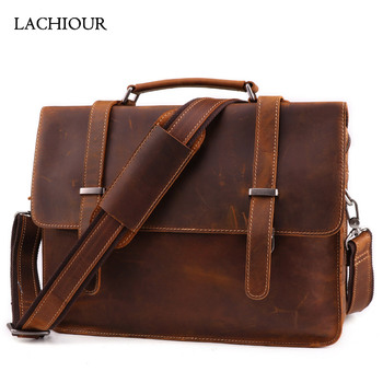 Retro Casual Genuine Leather Briefcases Crazy Horse 14 Inch Laptop Bag Cowhide Handbag Ipad Crossbody Bag for Man crazy horse genuine leather shell with stand for iphone 6s 6 4 7 inch brown