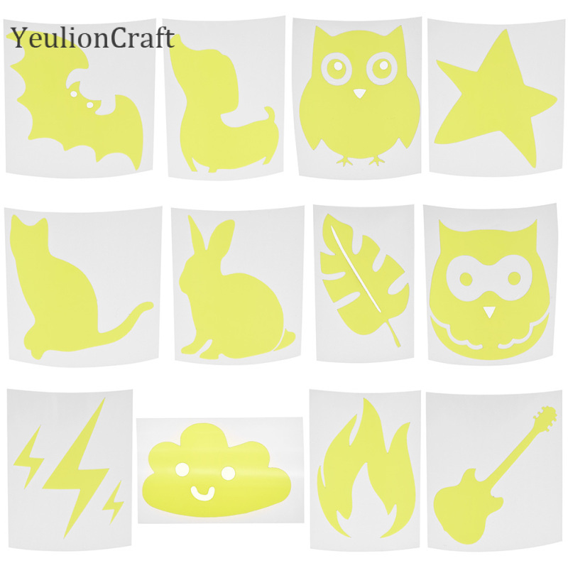 YeulionCraft 10Pcs Animal Leaf Shaped Reflective Sticker Hot Stamping Foil Heat Transfered Vinyl Film Sheet For Garment Crafts