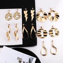 Корейские модные висячие серьги золотого цвета с кристаллами