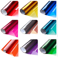 60x400cm Color film window glass sticker heat insulation sunscreen cellophane transparent two way film decorative window film