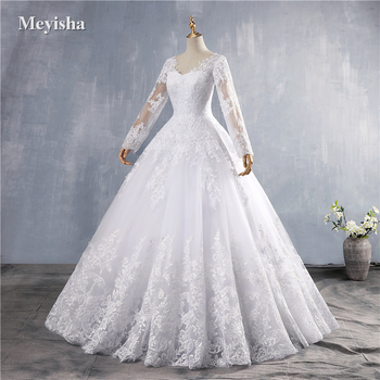 ZJ9160 2019 2020 New Crystal White Long Sleeve Lace Bottom Vintage Wedding Dresses for brides plus size maxi - discount item  28% OFF Wedding Dresses