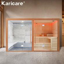 Wysokiej jakości luksusowe mokrej nawierzchni-gotowanie na parze i na sucho do gotowania na parze stałe drewniana sauna pokój z piec do sauny i MP3 tanie tanio KARICARE Panel sterowania komputerowego 4 osób Pokoje sauny WS-1816 Sucha para