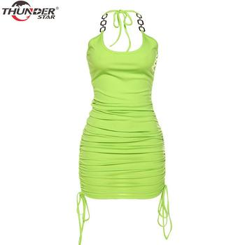Summer Club Vacation Birthday Party Camis Dress Women Sexy 2020 Spring Fashion Solid Color Skinny Kawaii Mini Wrap Dress 5
