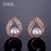 ZAKOL New Rose Gold Color Water Drop Cubic Zircon Stud Earrings for Women Fashion Imitation Pearl Wedding Anniversary FSEP2229
