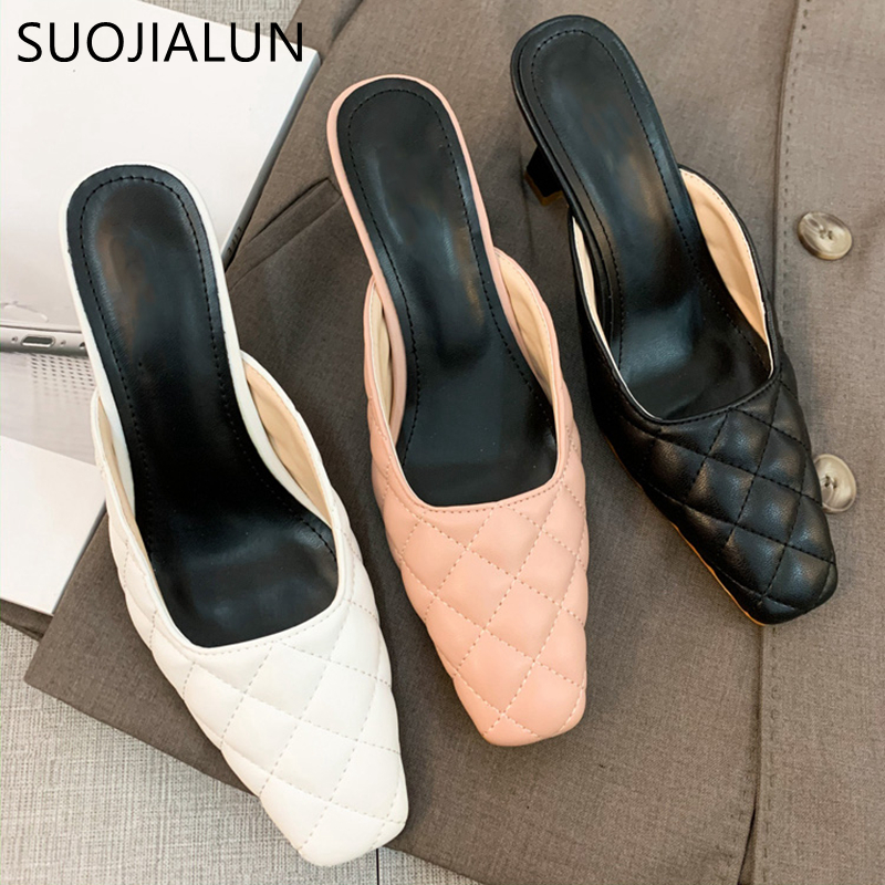 SUOJIALUN 2020 Spring Women Mules Shoes New Brand Linger Slipper Square Toe High Heels Pump Sandal Shoes Slip On Dress Shoes