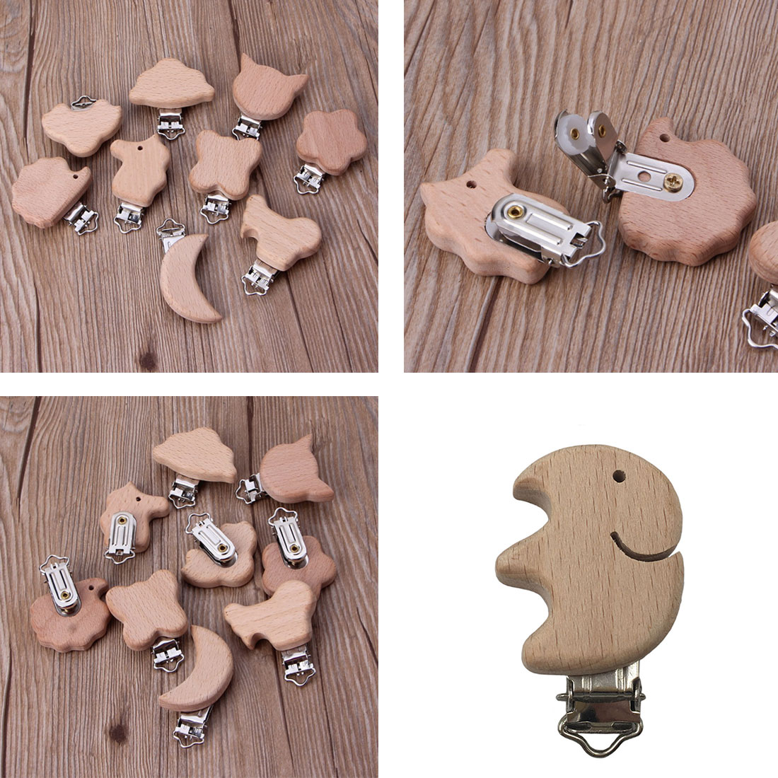 5pcs Cute Shape Beech Wood Pacifier Clip Small Elephant Star Heart shaped Bird Baby DIY Preferred Nipple Chain Accessories in Pacifiers Leashes Cases from Mother Kids