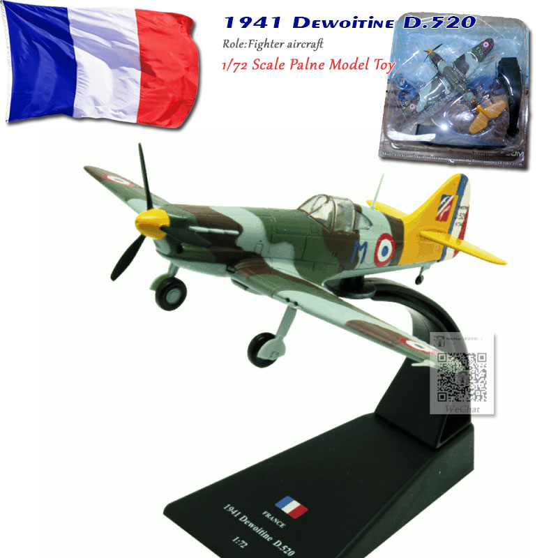 AMER 1/72 Scale World War II France 1941 Dewoitine D.520 Fighter Aircraft Diecast Metal Plane Model Toy For Collection/Gift