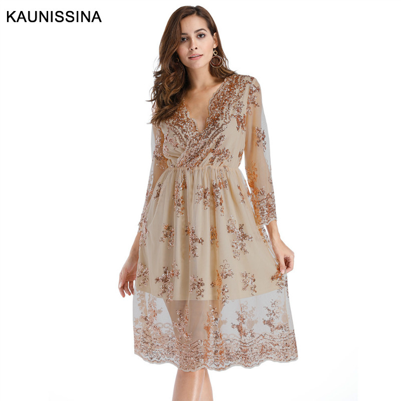 KAUNISSINA Sequins Party Gown Cocktail Dress V-Neck 3/4 Sleeve Knee Length A Line Celebrity Banquet Dresses Gold Black