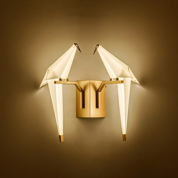 LED Postmodern Cinta Burung Besi Acryl Emas Hitam Lampu LED Lampu LED Lampu Dinding Lampu Dinding Sconce Dinding untuk Kamar Tidur koridor