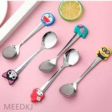 Spoon Coffee-Stirring-Spoon Stainless-Steel Silicone Cute Cartoon 2pcs Children's Fashion