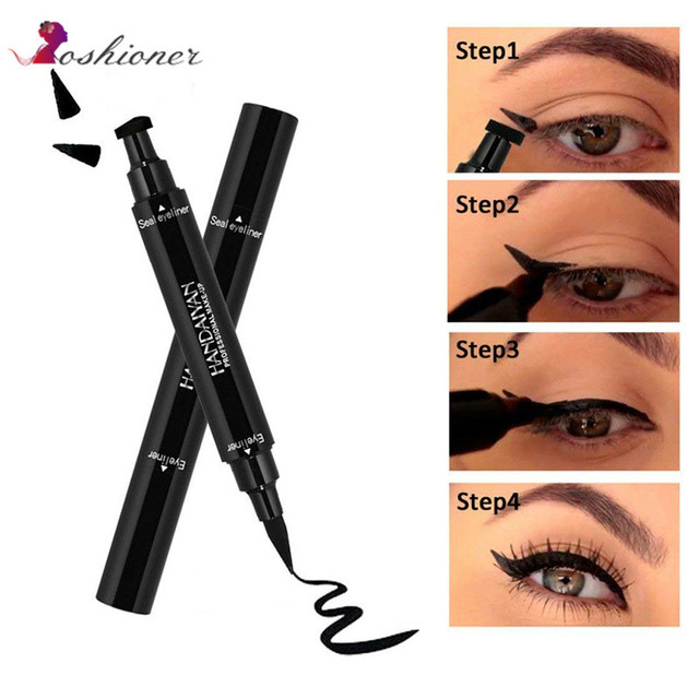 Double-Headed Seal Black Eyeliner 2 in 1 Liquid Triangle Seal Eyeliner Waterproof Eye Liner Pencil Stamp Eyeliner Pen Eye Makeup 5