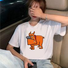 Модная футболка с рисунком собаки в стиле Харадзюку женская