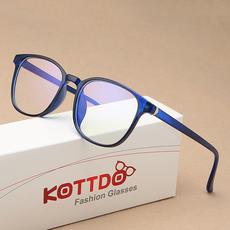 KOTTDO Retro Mens Glasses Frame Fashion Computer Eyeglasses Frame Women Anti-blue Light Transparent Clear Pink Plastic Frame 1