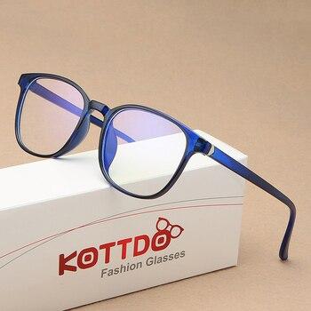цена на KOTTDO Retro Mens Glasses Frame Fashion Computer Eyeglasses Frame Women Anti-blue Light Transparent Clear Pink Plastic Frame