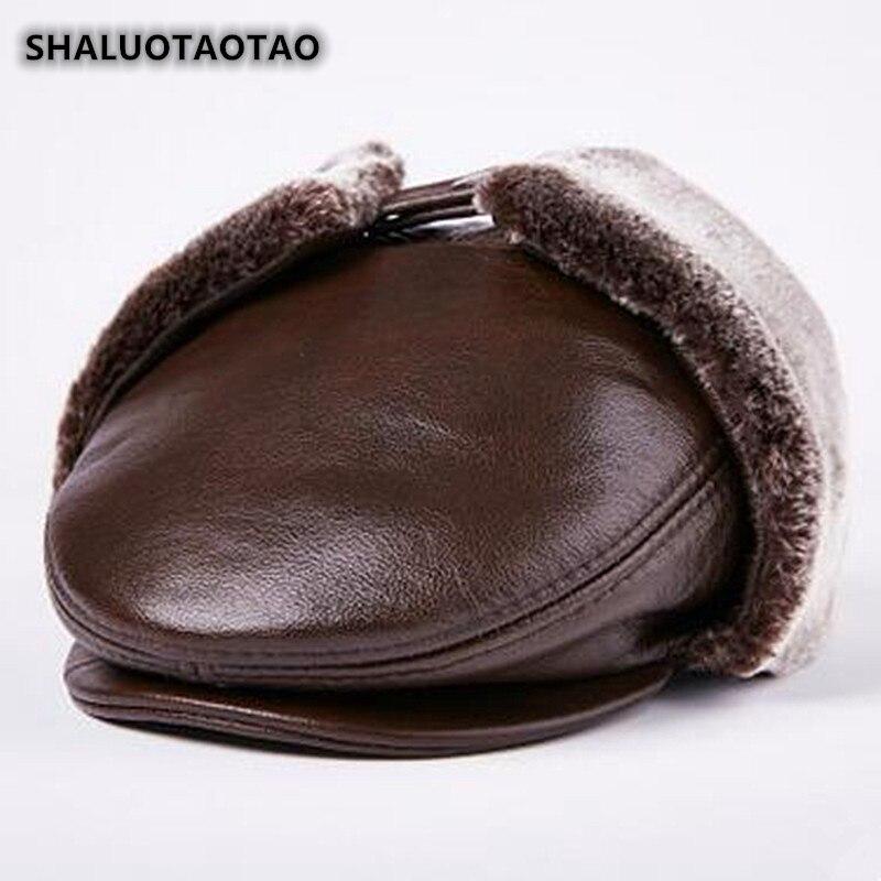 shaluotaotao-casquette-de-papa-hiver-epaissir-thermique-bomber-chapeaux-pour-hommes-mode-plus-velours-cache-oreilles-en-cuir-de-vachette-veritable-chapeau-nouveau