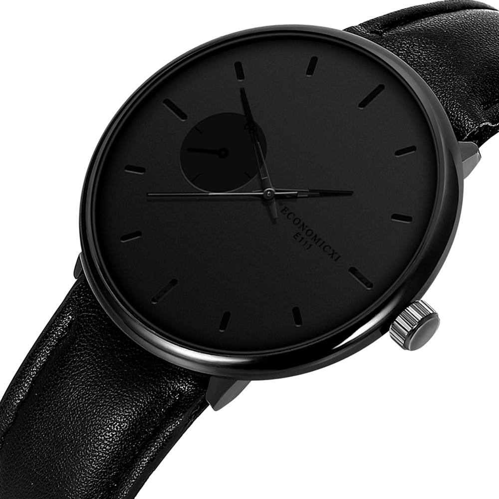 Creative Watch Men's Geometric Round Hand Table Business Casual Single Calendar Belt Wristwatches Simple Black Watch Men