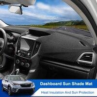 QHCP 자동차 대시 보드 매트 폴리 에스테르 3D 썬 라이트 패드 피하기 계기판 데스크 커버 카펫 스바루 XV 18-19 포레스터 19-20