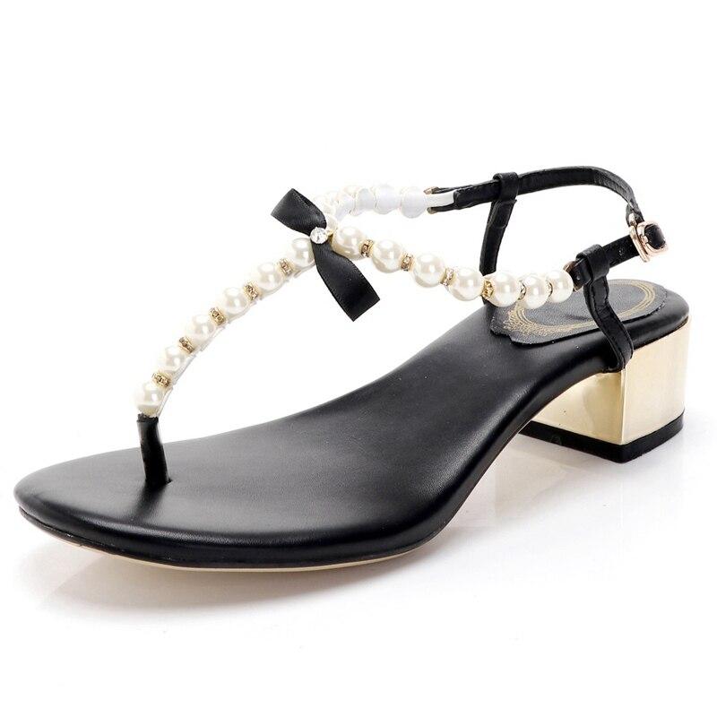 2019 Fashion Pearl Flip Flops Women Slippers Summer Casual Shoes Beach Flat Sandals