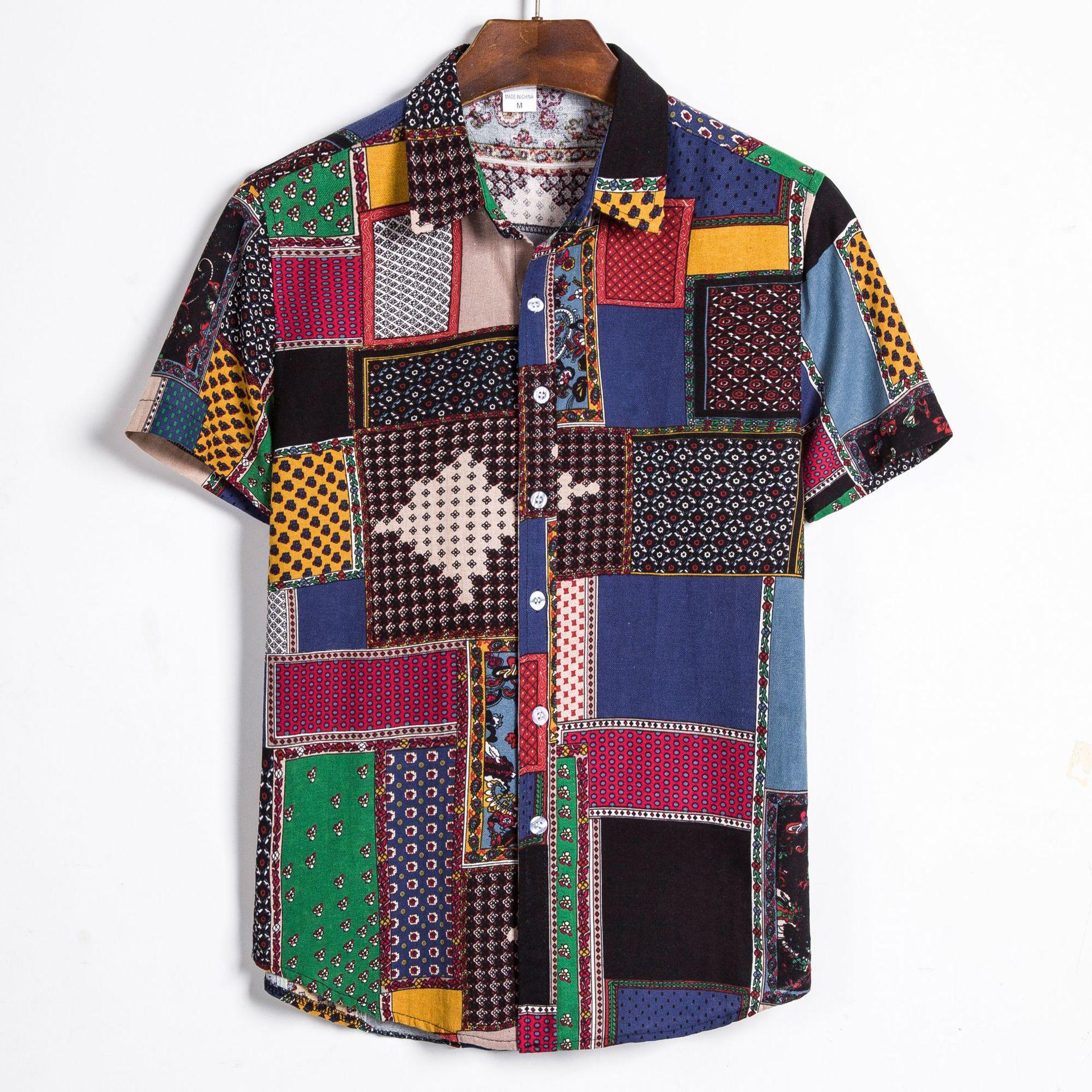HOHO 2020 Men Summer New Style Ethnic-Style Print Shirt Youth Cotton Linen Short Sleeve Print Shirt