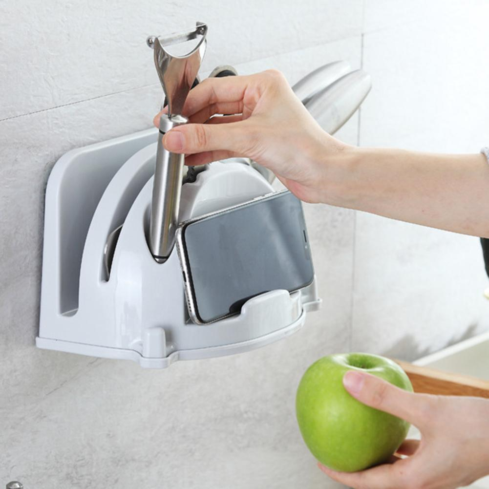 Wall Mounted Knife-Holder Stand Multi-functional Holder For Knife Plastic Knife Block Rack Knife Organizer Kitchen Accessories