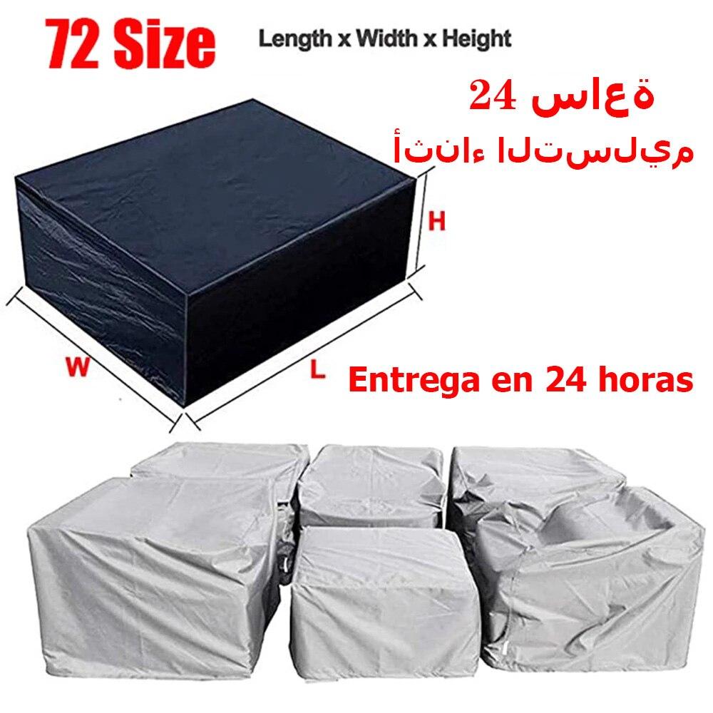 Cubiertas de Muebles De Jardín, cubiertas de juego de muebles al aire libre Extra grandes impermeables, lluvia nieve polvo a prueba de viento, Anti-UV, se adapta a 12 asientos