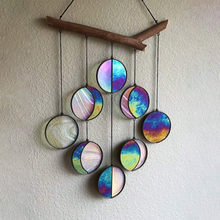 Moon Phase Wall Decor Wind Chimes Stained Plexiglass Clear And Rainbow Iridized Moon Phase Wall Hanging Celestial Art Pendant
